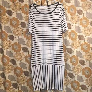 Lularoe Julia Black and White Stripe 2XL